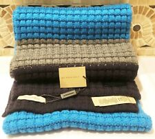 NWT BURBERRY CASHMERE BLEND BLUE MULTICOLOR WAFFLE STRIPE KNIT SCARF RETAIL $525