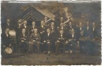 1926 German Orchestra in a Woodland Park w/ Cabin Real Photo Postcard