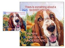 BASSET HOUND DOG HARDBOARD PLAQUE and LENS CLEANING CLOTH SANDRA COEN ARTIST