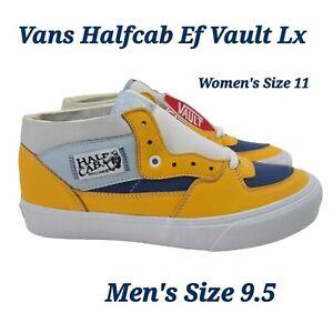 VANS VAULT HALF CAB EF VLT LX VN0A5HUS4GJ GOLD BLUE WHITE LEATHER Men's Size 9.5