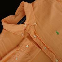 Mens Polo Ralph Lauren Classic Fit Orange Oxford Golf Dress Shirt Size Large L