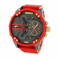 DIESEL Mr Daddy 2.0 Chronograph Gunmetal Gold Red Silicone Men's Watch DZ7430