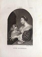 SCENA MATERNA madre figlio Incisione originale XIX secolo F. MIERIS