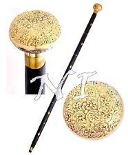 Nautical Wooden Walking Stick /Cane Victorian Design Brass Handle Vintage Style