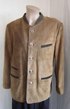 SCHNEIDERS SALZBURG Men's Suede Leather Brown Green Trim Jacket Size 38 AUSTRIA