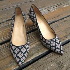 Talbots Floral Pumps Heels Sz 6.5 Pointy Toe Fabric Black Red Gold Shoes Womens