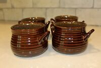 Crate & Barrel Two Handled Crock Style Bowls Thrown Clay Look Brown Stoneware