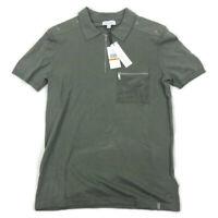 Calvin Klein Mens Polo Shirt Zip Neck Rivet Shoulder Olive Green Variety Sizes