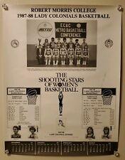 1987-88 ROBERT MORRIS COLLEGE LADY COLONIALS WOMEN'S BASKETBALL SCHEDULE POSTER