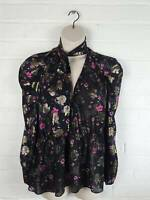 New Zara Black Gold Floral Puff Sleeve Blouse Top Pussy Bow Size XL UK 14 16