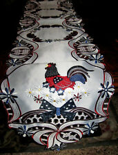 """Americana Rooster Table Runner Lacy Patriotic Country Farmhouse Decor 67"""" x 13"""""""