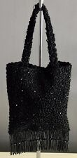 VINTAGE Flapper Vibe Black Satin & Beaded SPORTSGIRL Evening Bag