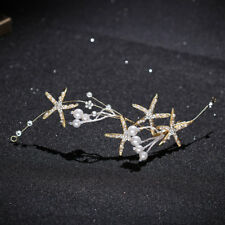 Gold Starfish Pearl Crystal Bridal Princess Wedding Headband Hair Band Jewelry