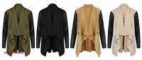 New Womens Wet Look PU PVC Arms Long Sleeve Ladies Waterfall Cardigan Blazer Top