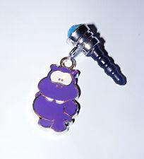 hippo purple phone charm plug dust cell phone charm