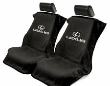 2 - Black Seat Armour w/Lexus Logo Front Seat Covers-Towel Protector-Terry Cloth