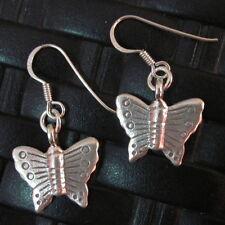 Silver Earrings Hill Tribe Handcraft Ethnic Cute Lovely Butterfly er048