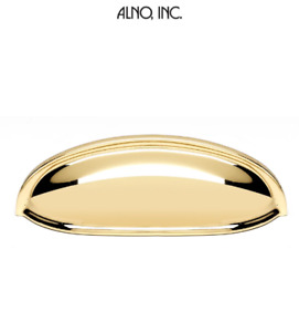 """Alno A1263-PB/NL Pulls 3"""" Center Smooth Shell Cup Cabinet Pull Unlacquered Brass"""