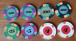 Eight Collectible Paulson Poker Chips ( 7 Top Hat And Cane )