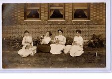 Real Photo Postcard RPPC - Four Women Holding Bunny Rabbits and Dogs - Animal
