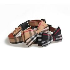 Dog Collar Cat Plaid Luxury Bow Tie Removable ~ Pet Buckle Adjustable Leather