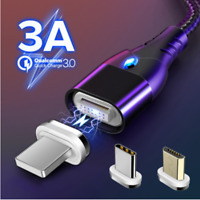 3A QC3.0 Fast Charger Magnetic Cable Micro USB lightning Type-C For Iphone XR 11
