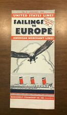 1934 United States Lines / American Merchant Lines - Sailings to Europe Brochure