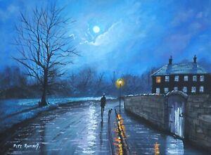 Pete Rumney Original Canvas Art Peaceful Night Under The Moon Handpainted Signed