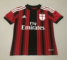 Kids Adidas 2014-2015 AC MILAN Home Soccer Jersey Youth Size Small Button Down