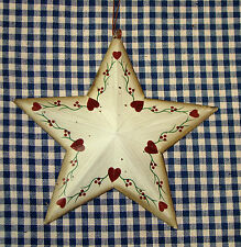 "Rustic Tin 5-1/4"" Mini Barn Star Painted Floral & Hearts Country Home decor"
