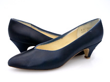 Dyeables Womens 9B Dark Blue Slip On Almond Toe Cone Heel Pump Shoes