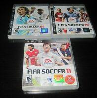 (3) Playstation 3 PS3 Fifa Soccer 9,10,11 Video Game Lot W Manuals EA Sports