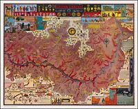 Grand Canyon and Vicinity 1931 whimsical  pictorial map POSTER Jo Mora 50304