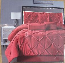 7 Pc Red Pinch Pleat Duvet Cover Set King Size Bedding with Accent Pillows