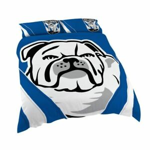 NRL - Quilt Cover Queen Size & x 2 Pillow Cases Canterbury Bulldogs