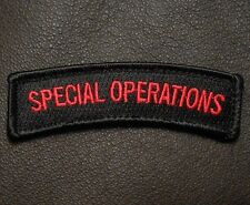 SPECIAL OPERATIONS TAB USA ARMY ISAF BLACK OPS RED VELCRO® BRAND FASTENER PATCH