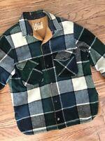 Vtg 60s 70s Fox Knapp USA Wool Plaid Faux Fur Lined Hunting Shirt Coat Jacket M