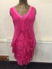Fuscia Pink Flapper Dress Silk Size 14 BNWT Planet