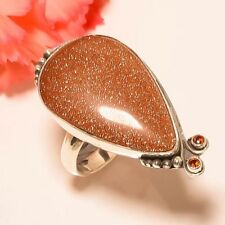 Golden Sun Stone, Garnet Vintage Style 925 Sterling Silver Ring 7.5(7940)