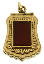ANTIQUE VICTORIAN GF BOOK CHAIN LOCKET GOLD FILLED CARNELIAN ONYX  FOB 2 SIDES