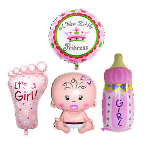 4Pcs Girl Foil Helium Balloon For Newborn Baby Shower Christening Birthday Party