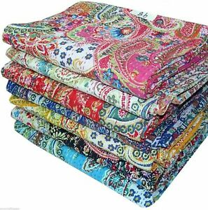 5 Pcs Pack Twin Cotton Kantha Quilt Throw Blanket Bedspread Paisley Multicolor