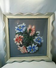 Vtg 40's 50's Airbrush Cottage Shabby blue pink chic flower print frame picture
