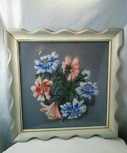 Vtg 40's 50's Airbrush Cottage Shabby blue pink chic flower print frame picture