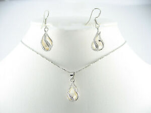 """Silver Plated 18"""" White Drop Freshwater Pearl Necklace & Earrings Sets Gift"""