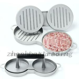 Non-stick double hamburger press burger meat beef grill patty mould kitchen bbq