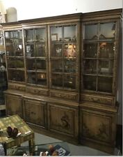 Vtg Chinoiserie Breakfront w/ Hidden Desk - Union National Furniture Wall Unit