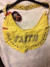 FAITH Vintage LeatherHandbag in yellow with studs by Revolution NEW with tags