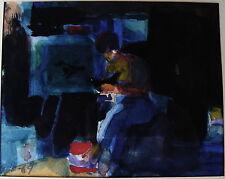 Göte Hultqvist *1930, Frau mit Vogel im Atelier, Gouache, datiert 1969