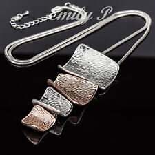 Statement Necklace Silver Rose Gold Tone  Pendant Long Necklace Lagenlook
